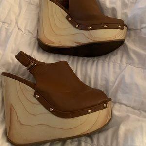 Qupid brown wedge heels